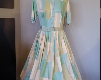 "Vintage 50's 1950's day dress // Blue green pastel // abstract print //  VLV // Rockabilly // VOLUP // 32"" waist"