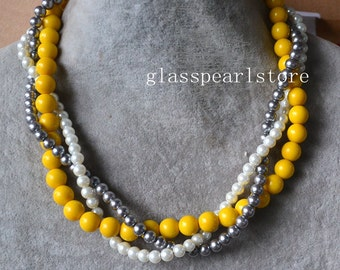 Yellow gray white necklace, 3 strands pearl necklace, statement necklace, twist necklace, wedding bridesmaid necklace, mixed color necklaces
