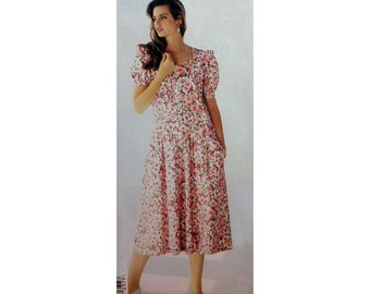 "Women's Dress Sewing Pattern, Sweetheart Neckline, Short Sleeves, Misses' Size 12, 14, 16 Bust 34, 36, 38"" Uncut McCall's 5217"