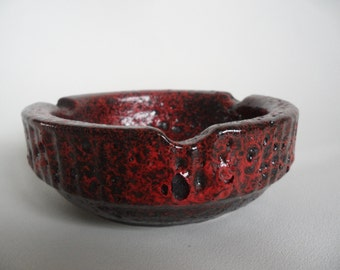 Fat Lava german pottery ashtray,black-red fat lava ashtray,collectible smoker utensils,ashtray,Vintage smokers ware