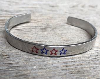 Patriotic Bracelet, Fourth of July Bracelet, Patriotic Jewelry, Fourth of July Jewelry, Red and Blue Star Jewelry, Gift Under 20