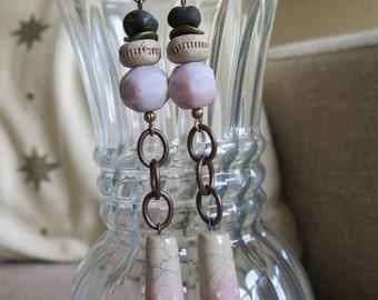 rustic earrings, pink and beige earrings, chain earrings, unique earrings, long earrings, pink and black earrings, long pink earrings, gift