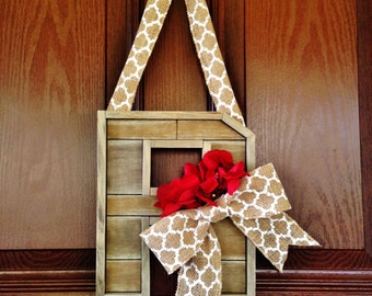 Pallet Monogram Door Wreath, Burlap Monogram Wreath, Chevron Monogram Door, Monogram Door Letter, Pallet Letter, Everyday Monogram