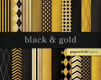 Black and Gold Digital Paper - Chevron Paper - Distressed Digital Paper - Harlequin Pattern - Quatrefoil Instant Download - 20 Sheets