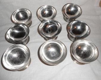 9 Ice Cream Dishes Dessert Bowls Stainless Steel Vintage