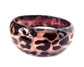 Thick Concave Bracelet Bangle Leopard Spot Print Lucite Bangle 1 inch Thick