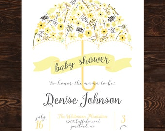 Printable Yellow Floral Umbrella Baby Shower Invitation-Print Yourself-Digital Invite