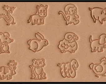 Whimsical Animal Leather Stamp Set - Twelve (12) Leather Stamps Kit