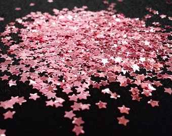 solvent-resistant glitter shapes-small pink (metallic) stars