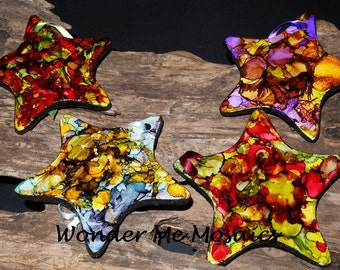 Handmade Alcohol Ink Christmas Ornament - Set of Two Stars