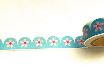 Flower Washi Tape, Turquoise Washi, Washi Tape, Planner Washi, Planner Tape, Scrapbook Washi, Scrapbook Supplies