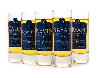 Shot Glasses // Set of 6 Personalized Groomsman Gifts