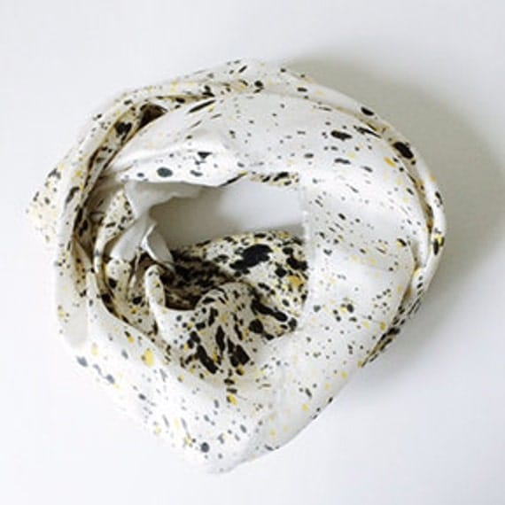 SALE! SHORT White with Gold and Black Speckled Infinity Scarf