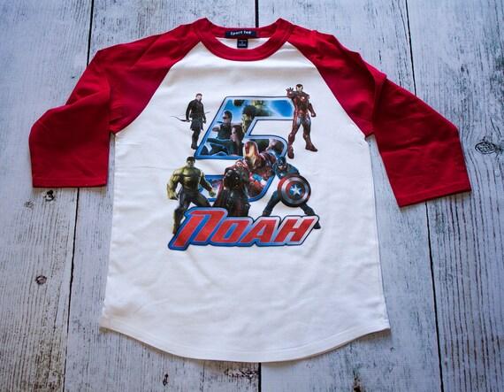 Personalized Avengers Birthday Raglan Shirt - stark, marvel, comic book, superman, avengers, hulk, iron man, captain