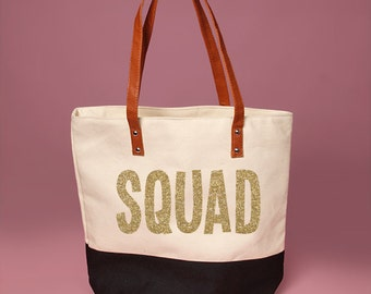 Cute Black and Cream SQUAD Tote Bag