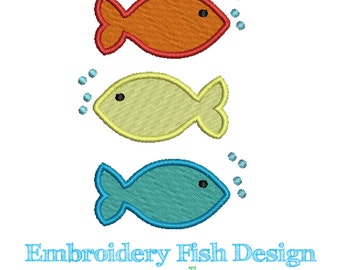 Fish Embroidery Design - Machine Embroidery - Digital Download