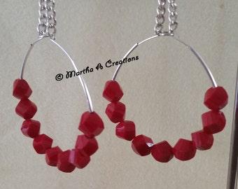 Deep Red Pierced Hoop Earrings