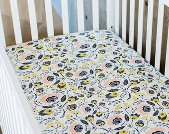 White floral Fitted Crib Sheet