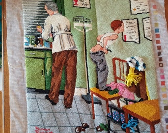 "Completed needlepoint canvas of Norman Rockwell's ""Visit to the Doctor's"""