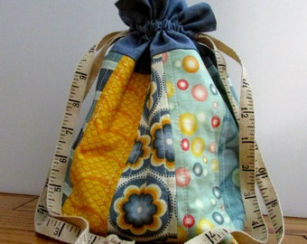 Drawstring Bag | Cosmetic Bag | Jewelry Bag | Quilted Bag | Blue, Green and Yellow Drawstring Bag | Handmade Bag