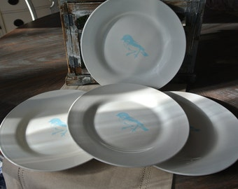 Set of Four Hand Stenciled Dinner Plates