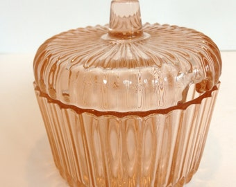 Vintage Pink Pressed Glass Covered Bowl or Jar. Covered Sugar Bowl