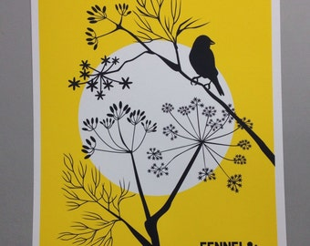 A3 size print Unframed Fennel & Sparrow in Yellow with Charcoal detail