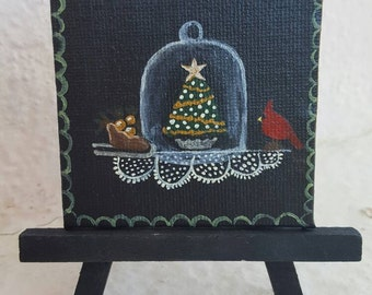 Winter Cloche. Free easel and shipping with purchase.