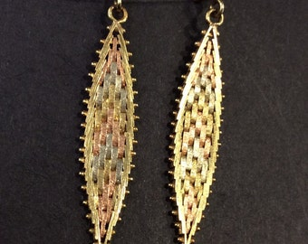 9ct 3 colour gold earrings