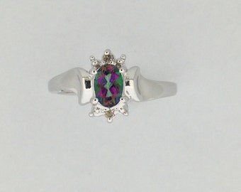 Natural Mystic Topaz with Natural Diamond Ring 925 Sterling Silver