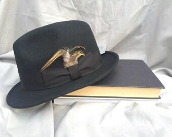 Black Vintage Style Wool Fedora Hat