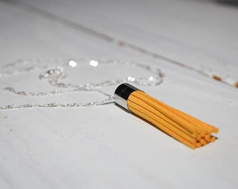 Mustard Yellow Tassel Necklace with 30-inch Sterling Silver Chain