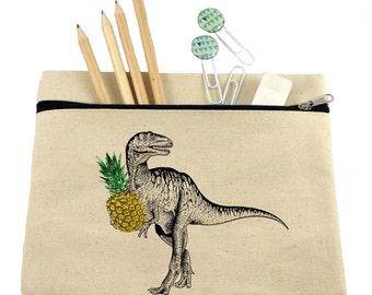Makeup bag/ cosmetic bag/ pencil case/ T-Rex with pineapple/ dinosaur