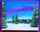 Original Snowy Mountainous Tree Landscape with Blue, Purple, and Yellow Sky Acrylic Painting