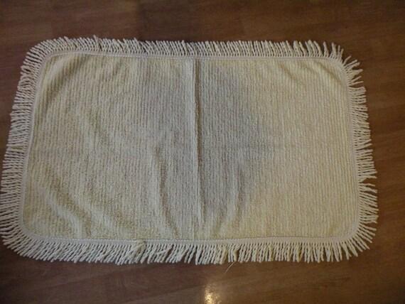 Vintage Chenille Rug Yellow 35x22 Bath Mat