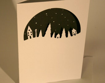 Paper Cut Little houses & trees card, Silhouette, Winter Scene