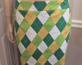 Totally groovy Green Plaid Loud Mouth Golf skirt / skorts ( attached shorts under )  / size 4