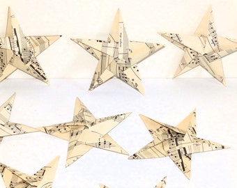 Set of 6 Origami Stars 5 1/2 inches tall Handmade from Vintage Sheet Music Christmas Home Music Room Decor