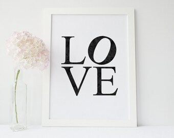 LOVE Poster // LOVE Print - Watercolour Type Quote Poster