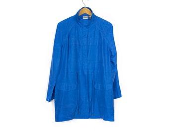 minimal blue silk coat - lightweight jacket