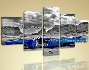 "Large 5 Panels Vintage Car Contemporary Wall Art Home Decor Canvas Print Blue, Vintage Car wall art,  prints, 54""x32"""
