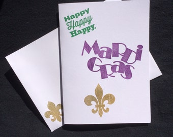 7 Mardi Gras blank note cards with a Fleur de lis and matching envelopes .