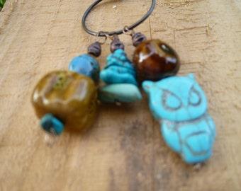 owl, turquoise, ceramic charm necklace