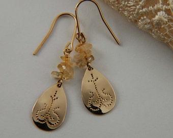 Citrine Earrings Gold Hammered Earrings Artisan Earrings Gold Drop Earrings Citrine Jewelry