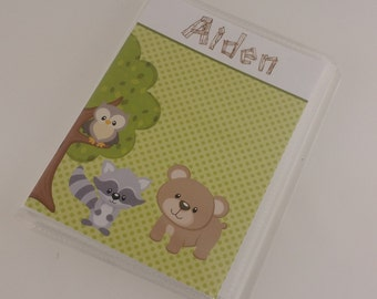 Boy Baby Photo Album 4x6 or 5x7 pictures Grandmas Brag Book woodland creature forest animals baby shower gift personalized name 616