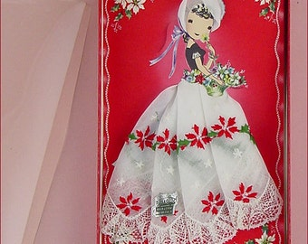 Vintage Christmas Handkerchief Girl Mint in Original Box (Inventory #M4598)