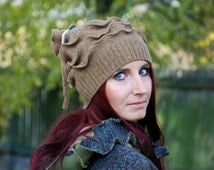 SALE Recycled knit beanie hat Slouchy Wool hat Hippie Bohemian hat Upcycled Reconstructed Gnome Pixie Fairy Elven Woodland OOAK Pagan Beige