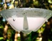 Glass bird feeder, glass garden art, bird feeder glass, bird feeders, garden art glass, vintage glass bird feeder, garden art, Pale Dogwood
