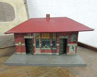Tin Lithograph Building - Vintage Tin Train Station