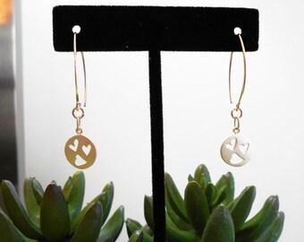 STERLING SILVER HEART earrings - matte sterling heart disc earrings - lightweight earrings